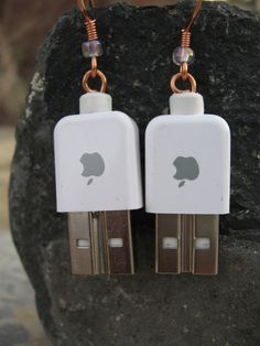 Woops, dropped another USB stick in your tea? If you can't fix it, make them into the perfect geek chic earrings!  MAC USB Earrings by Nikinut2002