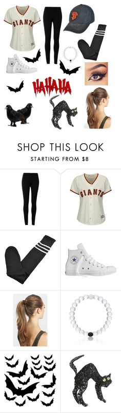 """""""Comment what your being for Halloween! I'm being a baseball player!"""" by jacqueline133 ❤ liked on Polyvore featuring Max Studio, Majestic, Converse, France Luxe, Everest, Venom and Pier 1 Imports"""