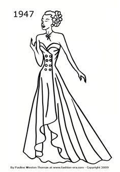 victorian coloring pages of womens dress Ladies Victorian Dress