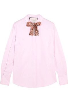 Gucci - Embellished Cotton-poplin Shirt - Pink - IT40
