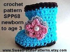 BABY BOOTIES, baby boots, Crochet pattern, num SPP68, newborn to age 3. $3.99, via Etsy.