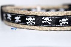 Skull Dog Collar, Black Dog Collar, Halloween Dog Collar, Cross & Bones Dog Collar, Pirate Dog Collar, Narrow Dog Collar by GreenBeanDog on Etsy https://www.etsy.com/listing/249951149/skull-dog-collar-black-dog-collar