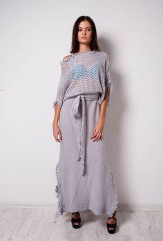 Light-gray maxi dress Knitted Maxi dress by CrochetDressTalita