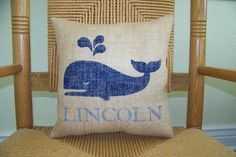 Whale pillow Beach pillow Sea life by KelleysCollections on Etsy