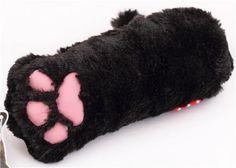 Estuche lápices peluche negro animal kawaii zarpa de gato de Japón - Estuches - Papelería - tienda kawaii modesS4u