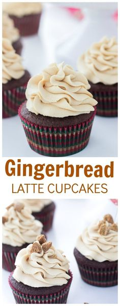 These gingerbread latte cupcakes are a great holiday treat; sweet, spiced and moist. #cupcakes #gingerbread
