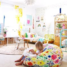 Toddler girls room more kids bedroom and decor ideas on the blog | colourful modern boho kids rooms