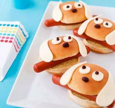It's a dog-eat-dog world: slip hot dogs into hamburger buns an. - Animal Shaped Food Ideas -From Family Fun.It's a dog-eat-dog world: slip hot dogs into hamburger buns an. Food Art For Kids, Cooking With Kids, Easy Cooking, Cooking Recipes, Cute Food, Good Food, Yummy Food, Awesome Food, Food Fails