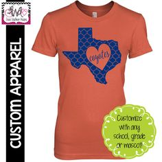 CUSTOM APPAREL: Custom Ladies FITTED State Pride, School Spirit T-Shirt - Customize for your state!