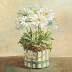 Tres Chic Daisies Canvas Art - Danhui Nai (24 x 24)