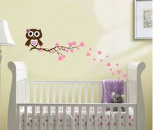 Nursery+Owl+Branch+Wall+Decal+Boy+Girl+Baby+Hearts+by+AllOnTheWall,+$31.00