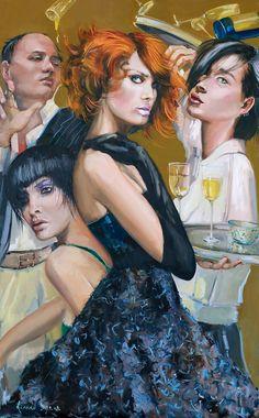 'Her Sins' Gerard Byrne, figurative, oil on canvas, 79 x 125 cm, www.gerardbyrneartist.com