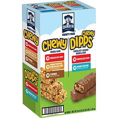 Quaker Chewy Granola Bars and Dipps Variety Pack, 58 Count Granola granola bars 60 bars Gourmet Recipes, Dog Food Recipes, Snack Recipes, Snacks, Chewy Granola Bars, 54 Kg, Energy Bars, Chocolate Peanut Butter, Yummy Treats
