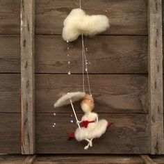Felt fairy mobile, Waldorf inspired, Needle felted Doll umbrella raining cloud raindrops Nursery decor Hanging red white Spring decor