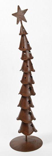 "15"" Rusty Tin Whimsical Crooked Layered Christmas Tree"