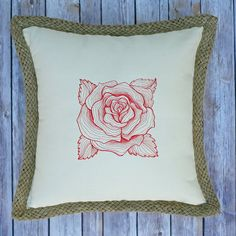 Engraved Rose on Cream Cotton Pillow with by mycousinmadeit