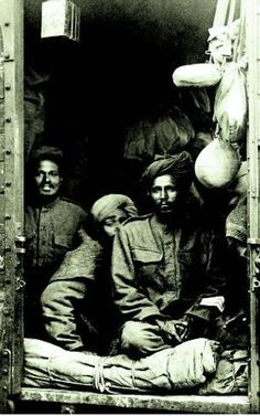 Indian troops on a military train in France, 1914. Times of India. 1.3 million Indian soldiers fought in WW1, but their contribution has been almost forgotten in India. Indian troops suffered heavy casualties as they fought in the frozen trenches of Europe, in the bloody campaigns of the Middle East, the Dardanelles and the Mediterranean, and East Africa. The Indian Expeditionary Forces would lose 74,187 in the war and 69,214 would return home wounded.