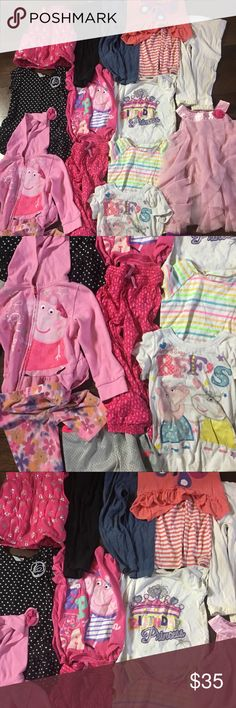 3T girls bundle lot 17 items with peppa pig 17 ADORABLE items that your little babe is sure to love!  Dresses, shorts, T-shirt's, leggings, hoodie, vest, peppa pig, princess , butterflies, and  flowers perfect for any little princess 💗 Puma Shirts & Tops