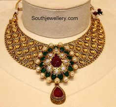 Indian Jewellery Designs - Page 50 of 1776 - Latest Indian Jewellery Designs 2020 ~ 22 Carat Gold Jewellery one gram gold Pearl Necklace Designs, Gold Choker Necklace, Choker Necklaces, Antique Necklace, Antique Jewellery, Chokers, Gold Jewelry, India Jewelry, Beaded Jewelry