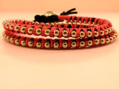 Double Leather Wrap Bracelet Ball Chain Double by CraftsbyBrittany, $11.00