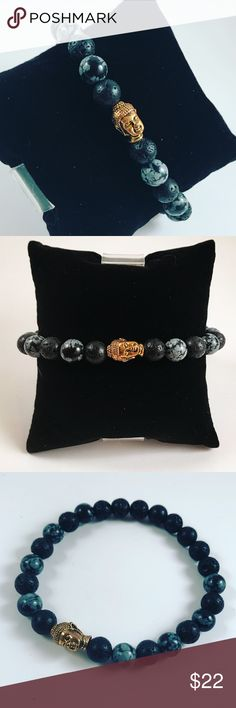 Men obsidian and lava rock gold buddha bracelet Men beaded bracelet. Fits most , 7.5 to 8.5 inch wrist. Handmade by me , never worn by anyone. Made with black lava rock / volcano beads and snowflake obsidian beads . Tibetan silver gold color  buddha head  .I ship fast!!✈️Bundle and save !! ( 10 % off bundles) Any questions let me know ! No transactions outside Poshmark!! Accessories Jewelry