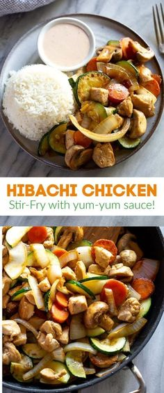 Japanese style Hibachi Chicken made with sautéed vegetables served over rice and topped with YUM YUM SAUCE! An easy dinner that's better than takeout. hibachi chicken yumyum easy recipe stirfry tastesbetterfromscratch via 389772542752089993 Hibachi Recipes, Asian Recipes, Healthy Recipes, Easy Recipes, Healthy Food, Sauteed Vegetables, Recipes, Rice, Dinner Ideas