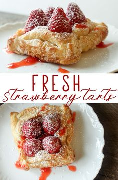 This has been one of our favorite desserts to make. These Fresh Strawberry Tarts are made with quality store-bought puff pastry and ripe and sweet strawberries. via This Cook That Desserts Fresh Strawberry Tarts Puff Pastry Desserts, Puff Pastry Recipes, Tart Recipes, Best Dessert Recipes, Sweet Recipes, Baking Recipes, Puff Pastry Tarts, Pastries Recipes, Puff Pastries