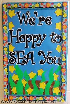 Bulletin board ideas with a cute ocean theme!