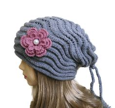 Grey Womens Beret Hat tricot and crochet unique by likeknitting, $34.99