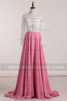 5b59526240 2017 Chiffon Lace Rose Pink Long Sleeve Prom Dress A Line Gowns ZPEE258 Prom  Dresses Long