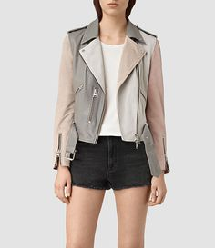 Womens Murray Leather Biker Jacket (GREY/PALE PINK/ICE) - product_image_alt_text_1
