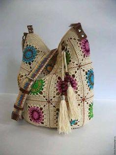 Ideas For Knitting Bag Crochet Granny Squares Bag Crochet, Crochet Handbags, Crochet Purses, Love Crochet, Crochet For Kids, Crochet Stitches, Crochet Patterns, Knitting Patterns, Beautiful Crochet