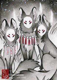 The Companions / Fox Kitsune Yokai / Japanese Style / 5x7 Fine Art Print