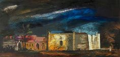 Lacock Abbey, from the West, a painting by official war artist John Piper of this National Trust place in 1942 Your Paintings, Landscape Paintings, Landscapes, John Piper Artist, Art Fund, West Art, National Art, Watercolor Sketch, Oil On Canvas