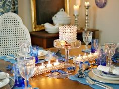 Incorporate Hanukkah traditions, but with a twist. Mix things up with bold color pairings and creative takes on your favorite customs and recipes for an unforgettable night.
