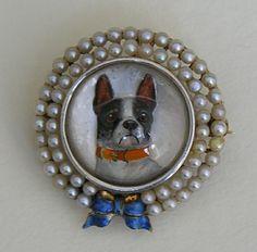 Antique Essex Crystal Boston Terrier Pearl Enameled 14k Brooch, $995.00