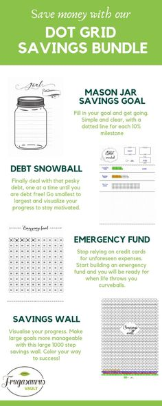 Awesome dot grid bundle for saving money and dealing with debt! Saving Money Chart, Money Saving Tips, Financial Planner, Financial Goals, Rainy Day Fund, Savings Chart, Goal Charts, Debt Snowball, Motivational Posters