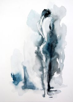 Nude Woman Watercolor Painting Original Watercolor by CanotStop, $120.00