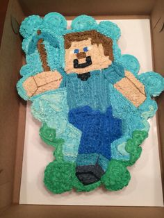Minecraft Steve Cupcake Cake Minecraft Teddy, Cake Decorations, Cake Pops, Charts, Cupcake Cakes, Peeps, Birthday, Sweet, Desserts