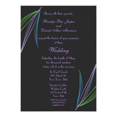 Pastel Feathers Abstract Wedding Announcement