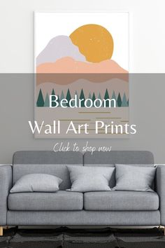 Looking to refresh your bedroom space? Consider getting printable wall decor from #LBInkDesign. We have a wide selection of boho, abstract, minimalist and modern wall art prints at affordable options. We also have neutral color options, and more colorful options as well. Our prints are perfect for above your bed or above a nightstand. Click this pin to shop our Etsy store and to find a great print for you bedroom decor. #wallartdecor #homedecor #abovebedart #bohowallart #abstractbedroomart