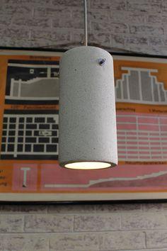 Concrete Pendant Light. Cylinder shaped shade and grey textile cord - Fat Shack Vintage - Fat Shack Vintage