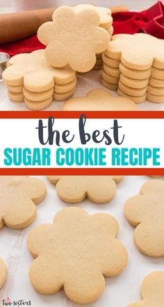 Cookie Cutter Recipes, Cut Out Cookie Recipe, Sugar Cookie Recipe Easy, Easy Cookie Recipes, Best Sugar Cookie Recipe For Decorating, Recipe For Making Cookies, Shortbread Sugar Cookie Recipe, Best Cutout Cookie Recipe, Sugar Biscuits Recipe