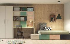 """Votre chambre est dans une configuration de """"couloir"""", voici une solution d'aménagement inspiré de Berlin. L'armoire, le bureau et ces rangements pratiques, ainsi que le lit qui repose sur des tiroirs sont tous inter-connecté. Pratique, design et épuré voici ce qui défini la chambre de ce grand adolescent."""