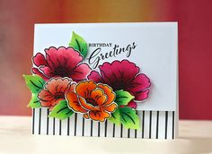 Birthday Greetings Card by Laura Bassen for Papertrey Ink (July 2015)