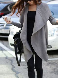 Black + gray. Love the cardigan.