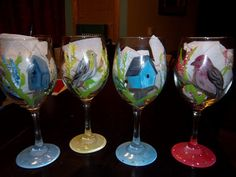 Set of 4 Painted wine glasses 20 oz. Birds & birdhouses by me,  ipaintstuff on Etsy, $40.00