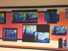 2nd grade.  Starry Night.  2 class lesson.   First class we use Oil pastels for stars, blue and purple watercolor markers for swirls and then water over the entire picture.   Second class we use blue and brown oil pastels to create the foreground and tree.