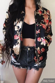 Random Floral Print Side Pockets Bomber Jacket