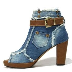 Denim heeled ankle boots